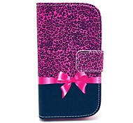 Leopard Bow Pattern PU Leather Case with Card Holder for Samsung Galaxy Trend Duos S7562