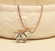 Collier avec pendentif cristal plaqué d'or Rose Butterfly accessoires de mode bijoux de charme pour les femmes