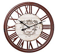 "18""H Wood Red Roman Numbers Wall Clock"