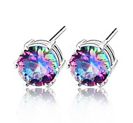 Earring Stud Earrings Jewelry Wedding / Party / Daily / Casual Crystal / Silver Plated Silver / Blue
