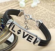 Men's PU Leather LOVE Titanium Steel  Bracelet