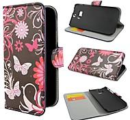 Fleurs et papillons Porte-monnaie en cuir avec des cas de stand entier pour HTC One M8
