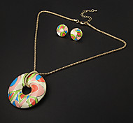 Vintage Circular Multicolor Flower Pattern  Gold Plated (Necklaces&Earrings) Jewelry Sets