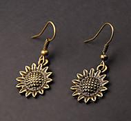 niedliche Sonnenblume Kupfer Ohrringe (1 Paar)