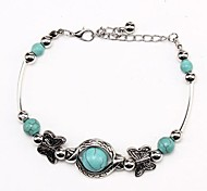 Coway3000033 Vintage Bohemian Butterfly Style Turquoise Bracelet