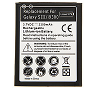 2300mAh Cell phone Battery Black for Samsung Galaxy SIII/i9300(2pcs) with Charger
