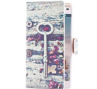 Vintage Key and Flowers Style Leather Case with Card Slot and Stand for LG Optimus L9 P760