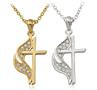 U7® New Cross Charms Pendant Crucifix Necklace 18K Real Gold Platinum Plated Jewelry Gift for Men Women