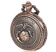 Men's Marine Corps Pattern Bronze Alloy Quartz Pocket Watch