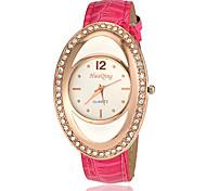 Damen Diamant Oval Fall PU-Band Quarz-Armbanduhr (verschiedene Farben)