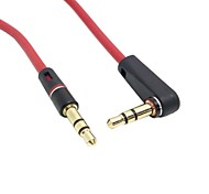Red Color 90 Degree Angled Type Stereo Audio 3.5mm to 3.5mm Male 3 Pos. Line In Car Aux Cable 100cm