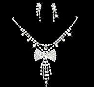 Da sposa damigella d'onore di cristallo collana gioielli orecchini set