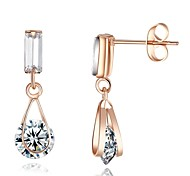Stylish Jewelry 18K White/Rose Gold Plated Rhinestone Dangle Earrings USE SWA Elements Crystal