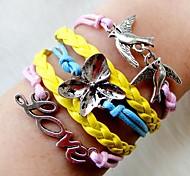 Fashion 20cm Women's Yellow Blue Pink Alloy Flowers Bird Braided Bracelet(1Pc)