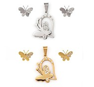 Dragonfly Pattern Pendant And Stud Earring(1set)