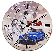 "23""H Statue of Liberty Style Retro Wood Wall Clock"