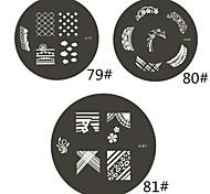 1 Parte M Series arredondado Nail Art Stamp Estamparia Imagem da Placa NO.79-81 (Padrão sortidas)