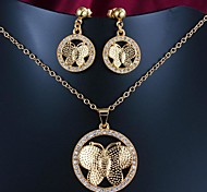 Mother's Day Gift Gold Plated Jewelry Set with Necklace and Earring