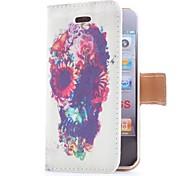 Flip en cuir fleur et crâne de style avec le stand et le logement pour carte pour l'iPhone 4/4S
