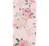 Flower Design Of Pink PU Leather Case with Card Slot for iPhone 5/5S