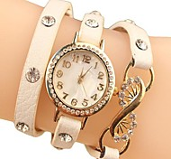 Women's Rhinestone Dial Chain PU Band Quartz Analog Fashion Wrist Watch (Assorted Colors)