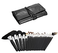 Good OEM Factory 24Pcs Professional Black Makeup Brush Set with Black Roll Case