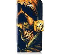 Schädel-Leder-Ganzkörper-Fall mit Kartensteckplatz und Magnet-Druckknopf für iPhone 5/5S