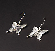 Cute Butterfly Silver Alloy Earrings(1 Pair)
