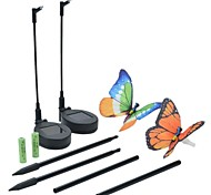 Set of 2 Solar Fibre Optic Butterfly Stake Lights Garden Decoration Lamp