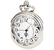Unisex Silver Alloy Quartz Pocket Watch