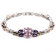 Fashion Ovel Shape Multi-slice Colorful Crystal Bracelet