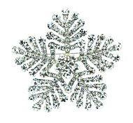6.5cm Rhinestone and Alloy Clear Snowflake Brooch Jewelry Pin