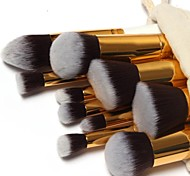 10 Pcs Professional Makeup Brushes Set Gold Tube Makeup Brushes Kit Free Draw String Makeup Bag