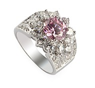 Fashion 925 Silver Plated Copper Zircon Ring