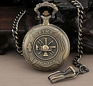 Men's Round Hero Fire Fighter Quartz Analog Pocket Watch