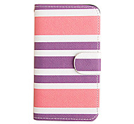 Stripe Patten PU Leather Full Case for iPhone 4/4S(Assorted Color)