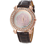 Women's Diamond Rose Pattern PU Band Quartz Wrist Watch (Assorted Colors)