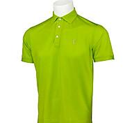 TTYGJ Herren Atmungsaktives Kurzarm-Süßigkeit Grün-Polo-Hemd