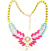 Multicolor Summer Acrylic Wings Statement Necklace