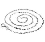 Collar de la plata del patrón de onda de agua (1 unidad)
