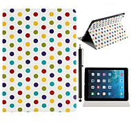 Beautiful Round Dots Pattern PU Leather Full Body Case with Stand and A Stylus Touch Pen for iPad Air