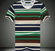 Men's Round Collar Stripe T-shirt with Short Sleeves