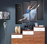 Dancing Lady Clock in Canvas 4pcs