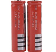 "Rechargeable 3.7V 18650 Li-ion ""4800mAh"" Battery - Red (2PCS)"