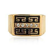 Men Jewelry 2014 Ring 18K Gold Filled Polish Gold Jewelry Rhinestone Rings for Men