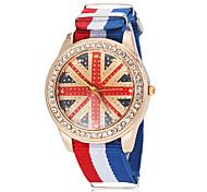 Unisex UK Pattern National Flag Style Fabric Band Quartz Wrist Watch (Assorted Colors)