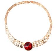 Fashion Circle Inlaid Gemstone Pendant Necklace