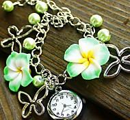 Women's Flower Style Alloy Band Quartz Bracelet Watch (Assorted Colors)