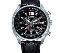 Skmei®Fashion Men Leather Calendar Wrist Watch 30m Waterproof Japan Movement Assorted Colors