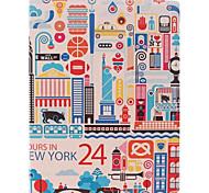 Die Cartoon-Stadt-Entwurf PU-Kombination Ganzkörper-Case mit Ständer für iPad 2/3/4
